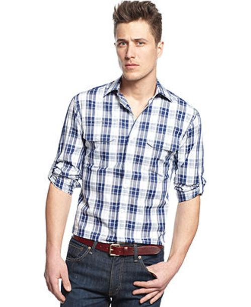 Slim-Fit Checkered Shirt by Vince Camuto in A Good Day to Die Hard